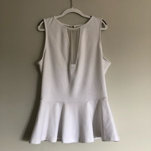 Guess peplum white top with mesh panel!🤍